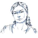 Retrato a mano de la mujer dudosa de la blanco-piel, emociones de la cara stock de ilustración