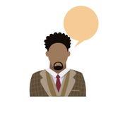 Retrato masculino afroamericano Person Silhouette Face casual de la barba del hombre de Avatar del icono del perfil stock de ilustración