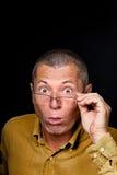 Retrato masculino com emoções grotescos Fotos de Stock Royalty Free