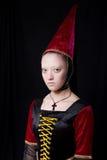 Retrato medieval del estilo de una mujer hermosa Fotografía de archivo libre de regalías
