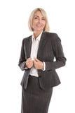 Retrato: Meio bonito mulher de negócios isolada envelhecida Imagem de Stock Royalty Free