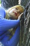 Retrato a menina com olhos azuis Imagens de Stock