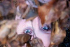 Retrato, menina ruivo nova bonita 'sexy' bonita que encontra-se sob um ramo com as folhas de outono douradas, com sorriso amigáve imagens de stock royalty free