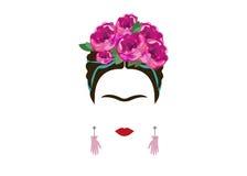 Retrato minimalista de Frida Kahlo con las manos de los pendientes Imagen de archivo
