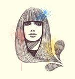 Retrato modelo desenhado mão Imagem de Stock
