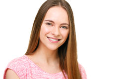 Retrato modelo joven hermoso aislado en blanco Fotografía de archivo libre de regalías