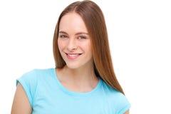Retrato modelo joven hermoso aislado en blanco Imagen de archivo