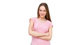 Retrato modelo joven hermoso aislado en blanco Foto de archivo
