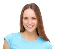 Retrato modelo joven hermoso aislado en blanco Imagenes de archivo
