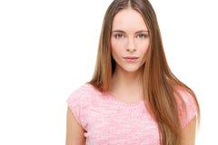 Retrato modelo joven hermoso aislado en blanco Foto de archivo libre de regalías