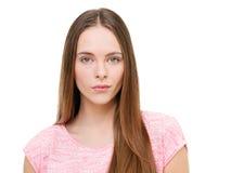 Retrato modelo joven hermoso aislado en blanco Fotografía de archivo