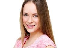Retrato modelo joven hermoso aislado en blanco Imágenes de archivo libres de regalías