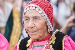 Retrato mongol viejo de la mujer Imágenes de archivo libres de regalías