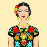 Retrato a mulher mexicana bonita na roupa nacional Isolado em um fundo bege Foto de Stock