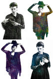Retrato multi hermoso impresionante del exsposure de la muchacha en ropa oscura Imagenes de archivo