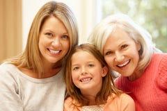 Retrato multigeneración de la familia Imágenes de archivo libres de regalías