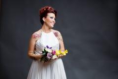 Retrato não convencional da noiva Imagem de Stock Royalty Free