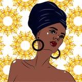 Retrato negro afroamericano de la mujer de la belleza Fotos de archivo