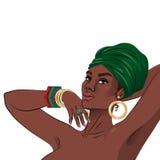 Retrato negro afroamericano de la mujer de la belleza Imágenes de archivo libres de regalías