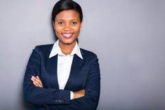 Retrato negro de la empresaria foto de archivo