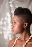 Retrato negro del perfil de la muchacha Fotos de archivo libres de regalías
