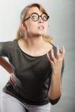 Retrato nervoso irritado da mulher Fotos de Stock Royalty Free