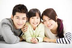 Retrato novo atrativo feliz da família fotografia de stock royalty free