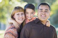 Retrato novo da família da raça misturada fora fotografia de stock royalty free