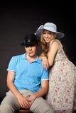 Retrato novo da família dos pares com mulher gravida Imagens de Stock Royalty Free
