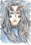 Retrato novo da fantasia do homem-lobo do homem da águia do falcão Foto de Stock Royalty Free