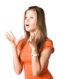 Retrato novo da mulher querendo saber Fotografia de Stock