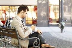 Retrato novo moderno do homem de negócios Foto de Stock Royalty Free