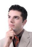 Retrato novo pensativo do homem de negócios imagem de stock royalty free