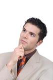 Retrato novo pensativo do homem de negócios fotos de stock royalty free