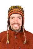 Retrato o homem no chapéu nepalês Imagem de Stock
