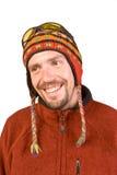 Retrato o homem no chapéu nepalês Foto de Stock Royalty Free