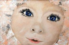 Retrato original da pintura a óleo de uma criança na lona Impr moderno Foto de Stock