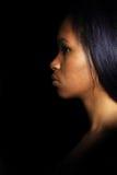 Retrato oscuro de la cara de la mujer del encanto, hembra hermosa imagen de archivo