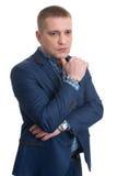 Retrato pensativo do homem de negócios Foto de Stock