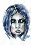 Retrato pintado de una muchacha Imágenes de archivo libres de regalías