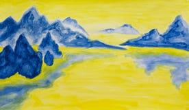 Retrato pintado mão, montes azuis Foto de Stock Royalty Free