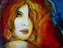 Retrato pintado mujer ilustración del vector