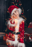 Retrato poco Papá Noel Fotografía de archivo