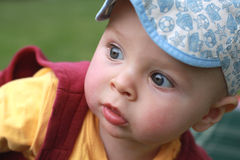 Retrato próximo de um rapaz pequeno bonito, olhando a câmera Foto de Stock
