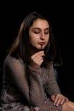Retrato preocupado mulher Imagens de Stock