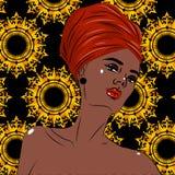 Retrato preto afro-americano da mulher da beleza Fotos de Stock
