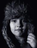 Retrato preto e branco do menino Imagem de Stock
