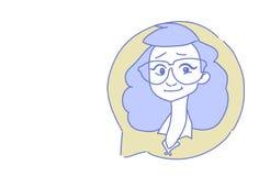 Retrato principal fêmea do caráter da garatuja do esboço do conceito do centro de atendimento do serviço de assistência do avatar ilustração do vetor
