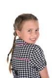 Retrato principal y de los hombros de la muchacha linda en trenzas Imagen de archivo libre de regalías