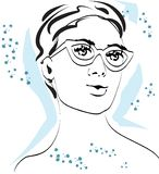 Retrato rápido de la moda de una mujer joven ilustración del vector